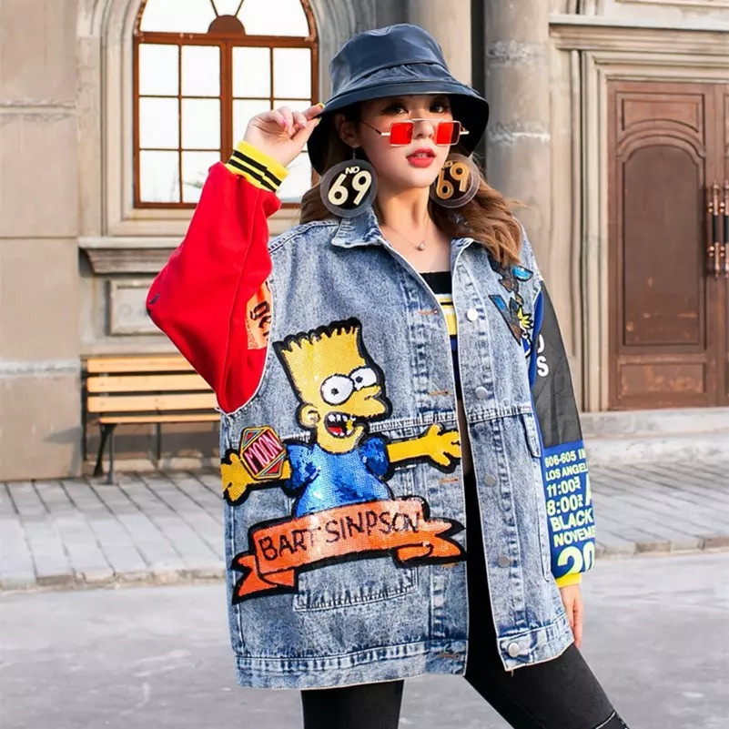 Женская джинсовая куртка Bart Simpson с надписями и пайетками голубая