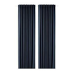 ИКЕА (IKEA) MAJGULL, 203.410.36, Гардины, блокирующие свет, 1 пара, темно-синий, 145x300 см - ТОП ПРОДАЖ
