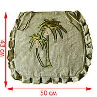 Подушка на стул/табурет 43*50 см, оливковый, вышивка Пальма, с завязками фиксаторами