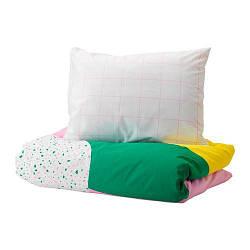 ИКЕА (IKEA) MÖJLIGHET, 704.212.76, Комплект постельного белья, розовый, графический рисунок, 150x200/50x60 см - ТОП ПРОДАЖ