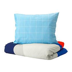 ИКЕА (IKEA) MÖJLIGHET, 504.212.58, Комплект постельного белья, синий, графический рисунок, 150x200/50x60 см - ТОП ПРОДАЖ