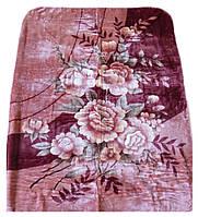 Плед Cappone гладкий (облегченка) 1,5 х 2. Розы на розовом.