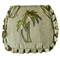 Подушка на стул табурет для кухни, 43*50 см, оливковый, вышивка Пальма, с завязками фиксаторами