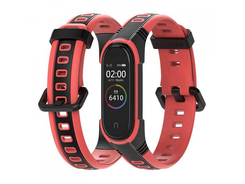 Ремешок для фитнес-браслета Xiaomi Mi Band 3 и 4 Sport 2, Black with red