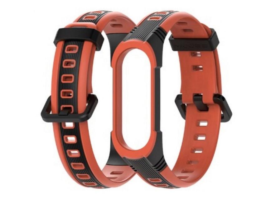 Ремешок для фитнес-браслета Xiaomi Mi Band 3 и 4 Sport 2, Black with orange