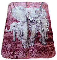 Плед Cappone гладкий (облегченка) 1,5 х 2. Слоны.