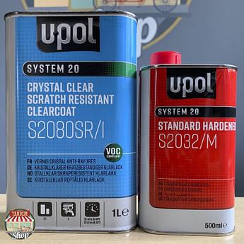 Лак акриловый суперпрозрачный повышенной прочности U-POL S2080 SR 2:1, 1,5 л комплект