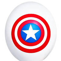"""Гелієва куля 12"""" 30см малюнок капітан америка щит на білому 0324"""