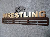 Медальница коричневая с золотом  Рестлинг/wrestling, фото 1