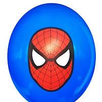 """Гелієва куля 12"""" 30см малюнок спайдермен на синьому 0329"""