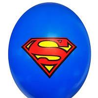 """Гелієва куля 12"""" 30см малюнок супермен на синьому 0330"""