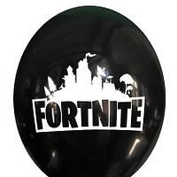 """Гелієва куля 12"""" 30см малюнок Fortnite на чорному 0392"""