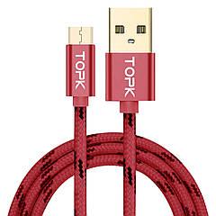 Кабель синхронизации Topk USB - MicroUSB 3A 1 м Red (3873-10871а)