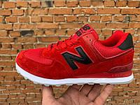 Женские кроссовки New balance 574 Red, красный замш