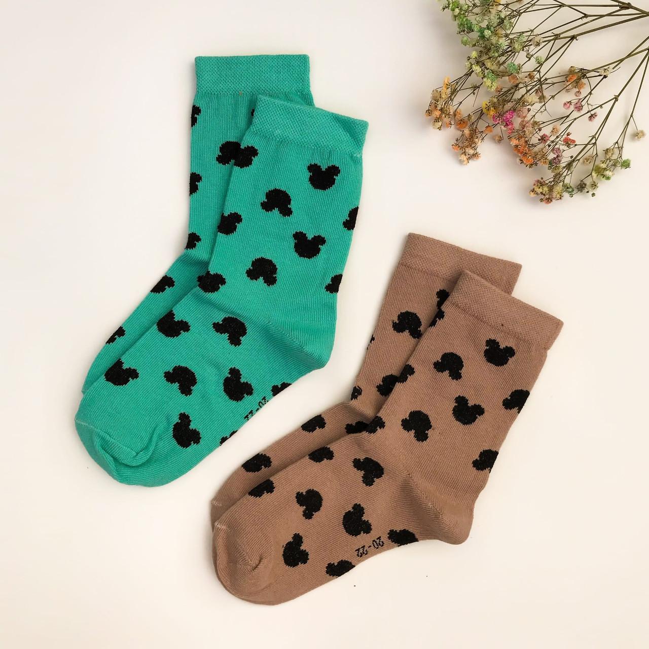 Носки для девочек V&T socks с рисунком Микки 20-22 (7-9 лет), Бежевый