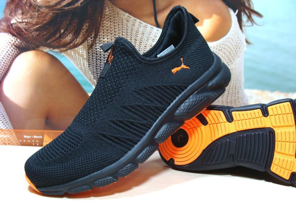 Мужские кроссовки Puma R (реплика)черно-оранжевые 43 р.