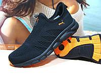 Мужские кроссовки Puma R (реплика)черно-оранжевые 43 р., фото 1