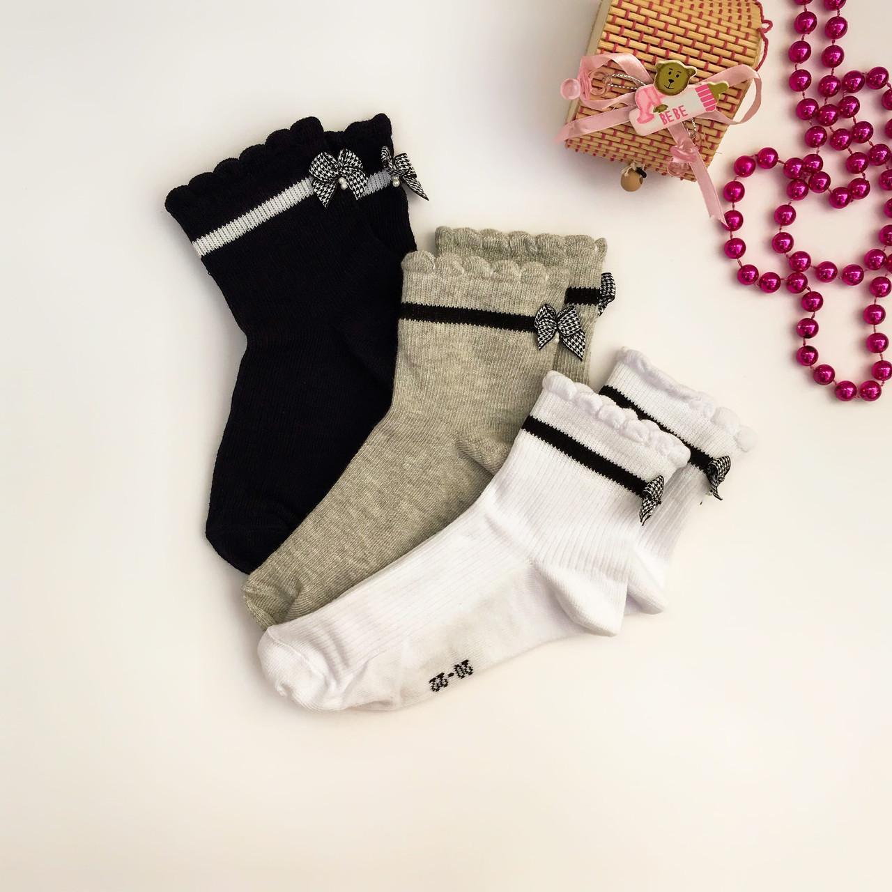 """Дитячі шкільні шкарпетки V&T socks """"Гусяча лапка"""" з бантиків🎀"""