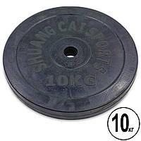 Блины черные обрезиненные 10кг (диам. 30мм) ТА-1445