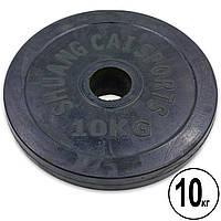 Блины черные обрезиненные 10кг (диам. 52мм) ТА-1447