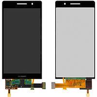 Дисплейный модуль (дисплей + сенсор) для Huawei Ascend P6-U06, черный, оригинал