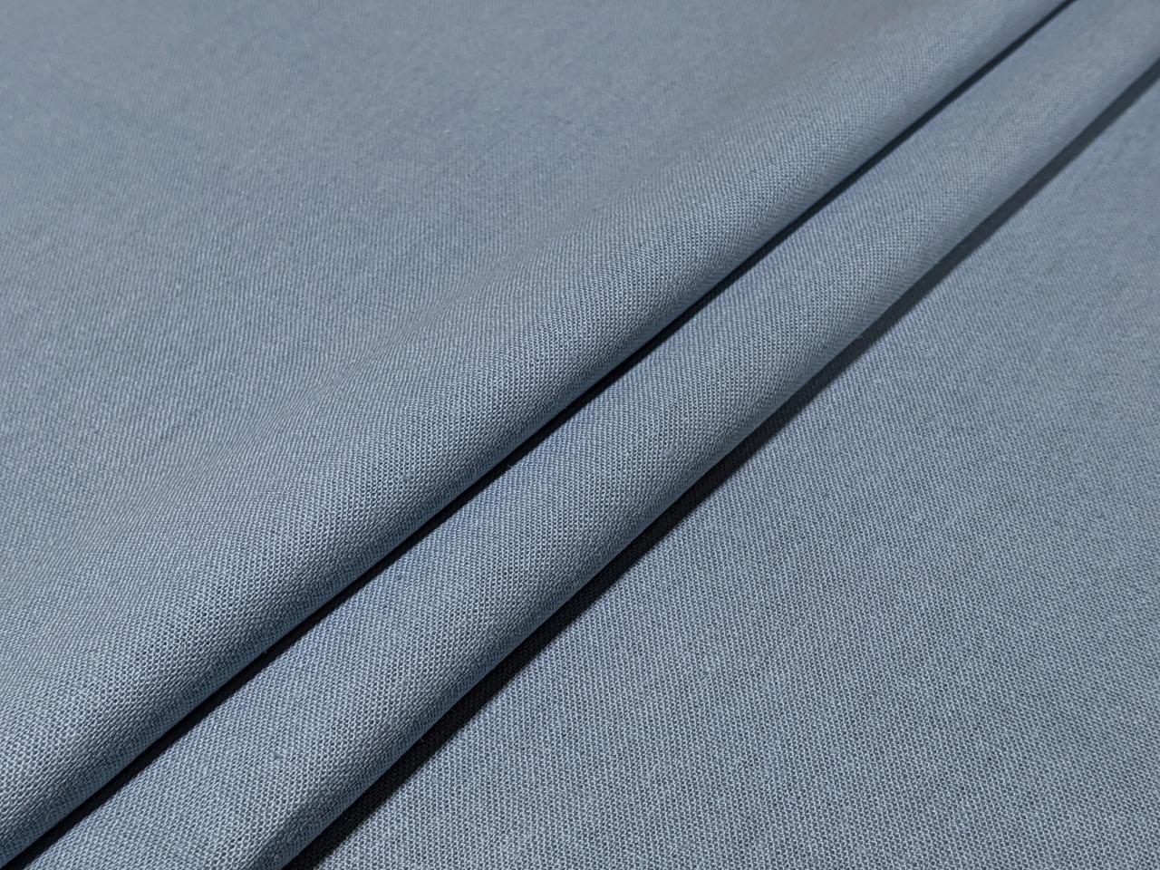 Лен однотонный, серый джинсовый