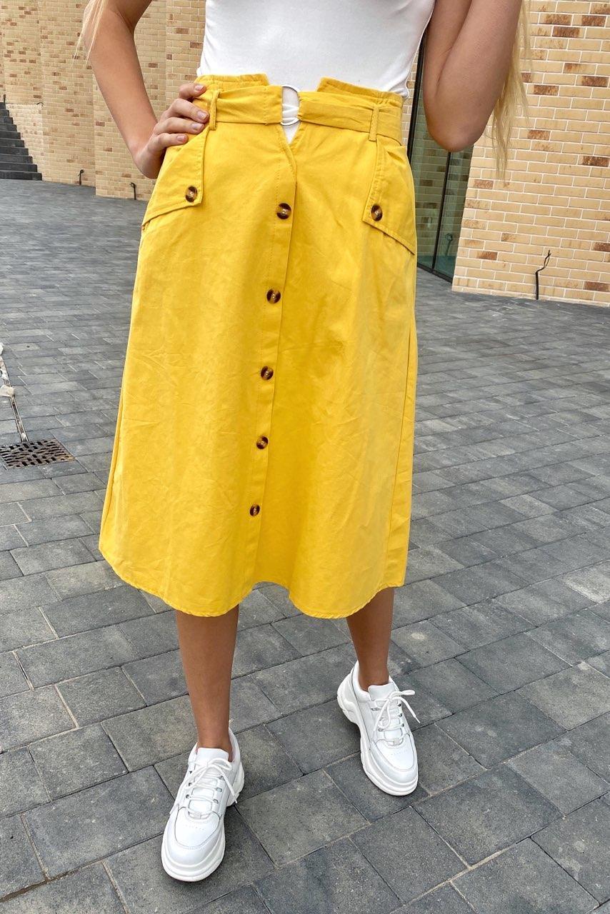 Летняя юбка миди с оригинальным поясом  LUREX - желтый цвет, L (есть размеры)