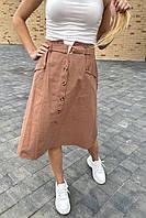Летняя юбка миди с оригинальным поясом  LUREX - кофейный цвет, S (есть размеры), фото 1