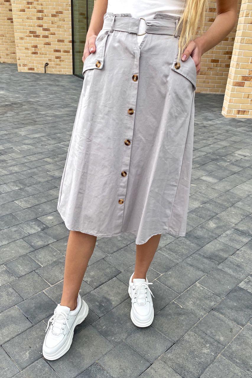 Летняя юбка миди с оригинальным поясом  LUREX - серый цвет, L (есть размеры)