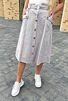 Летняя юбка миди с оригинальным поясом  LUREX - серый цвет, L (есть размеры), фото 1