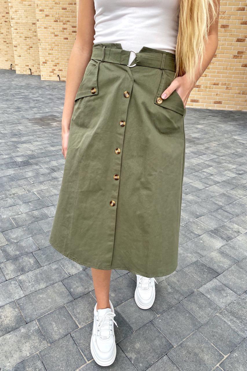 Летняя юбка миди с оригинальным поясом  LUREX - хаки цвет, S (есть размеры)