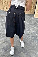 Летняя юбка миди с оригинальным поясом  LUREX - черный цвет, L (есть размеры), фото 1