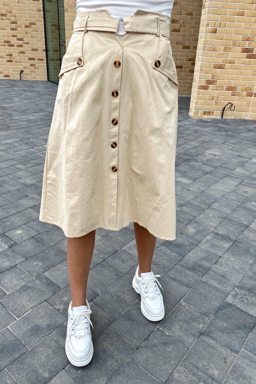 Летняя юбка миди с оригинальным поясом  LUREX - молочный цвет, S (есть размеры)