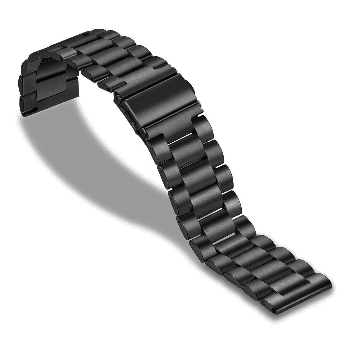 Ремешок для смарт-часов стальной BeWatch Xtra 20мм универсальный Черный (1110401)