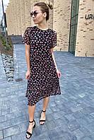 Летнее платье миди из сетки с принтом  - черный цвет, M (есть размеры), фото 1