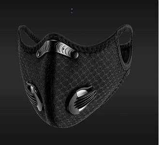 Спортивная маска респиратор KN95 защита от пыли,гари,смога со сменным угольным фильтром и клапанами Black (6060303)