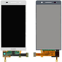 Дисплейный модуль (дисплей + сенсор) для Huawei Ascend P6-U06, белый, оригинал