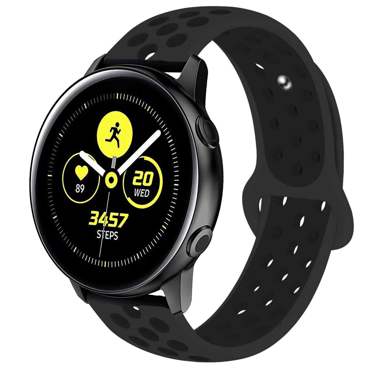 Ремешок BeWatch силиконовый 20мм для  Samsung Galaxy Watch Active | Active 2 40mm Черно Черный (1010101)