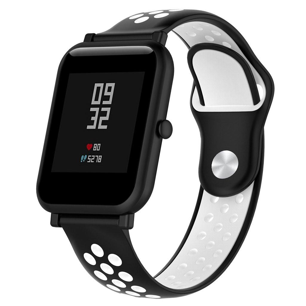 Ремешок BeWatch силиконовый 20мм для смарт-часов Xiaomi amazfit BIP   Lite   GTS   GTR 42mm Черно Белый (1010112)