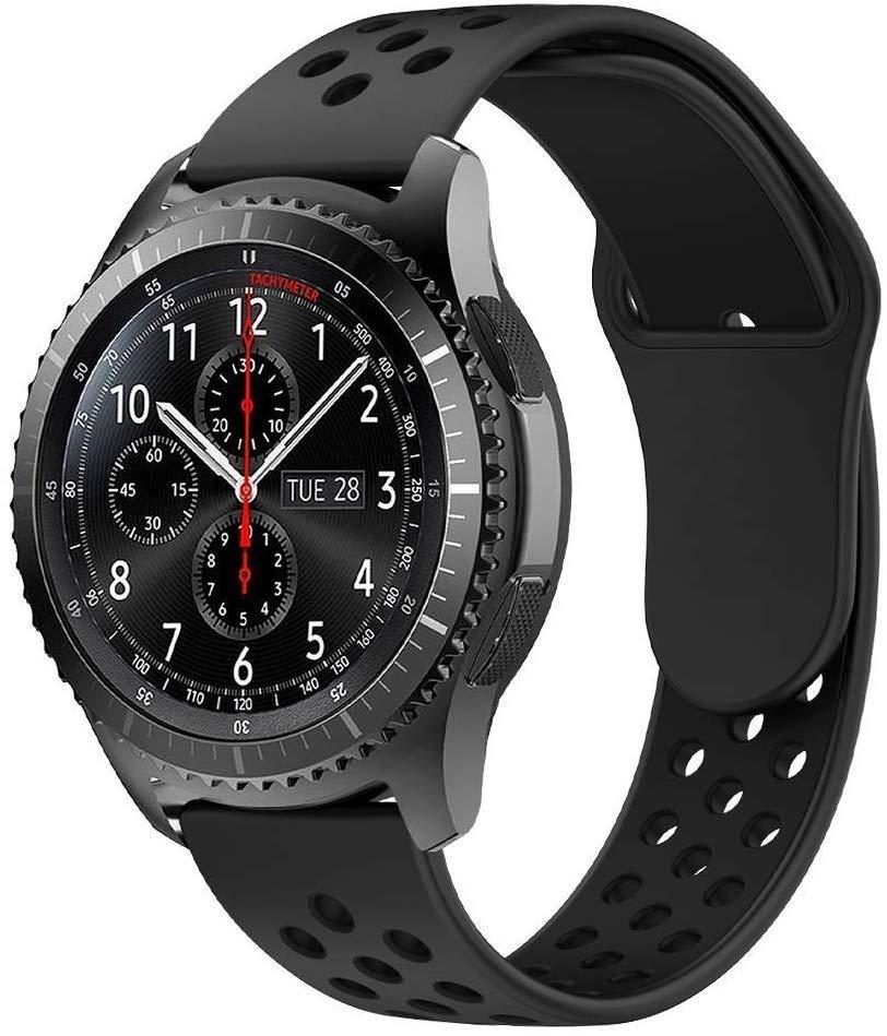 Ремешок BeWatch силиконовый 22мм для  Samsung Galaxy Watch 46mm   Gear S3 Черно Черный (1020101)