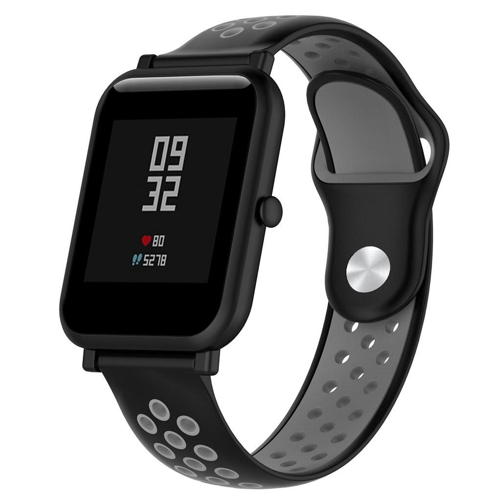 Ремешок BeWatch силиконовый 20мм для смарт-часов Xiaomi amazfit BIP | Lite | GTS | GTR 42mm Черно Серый (1010114)