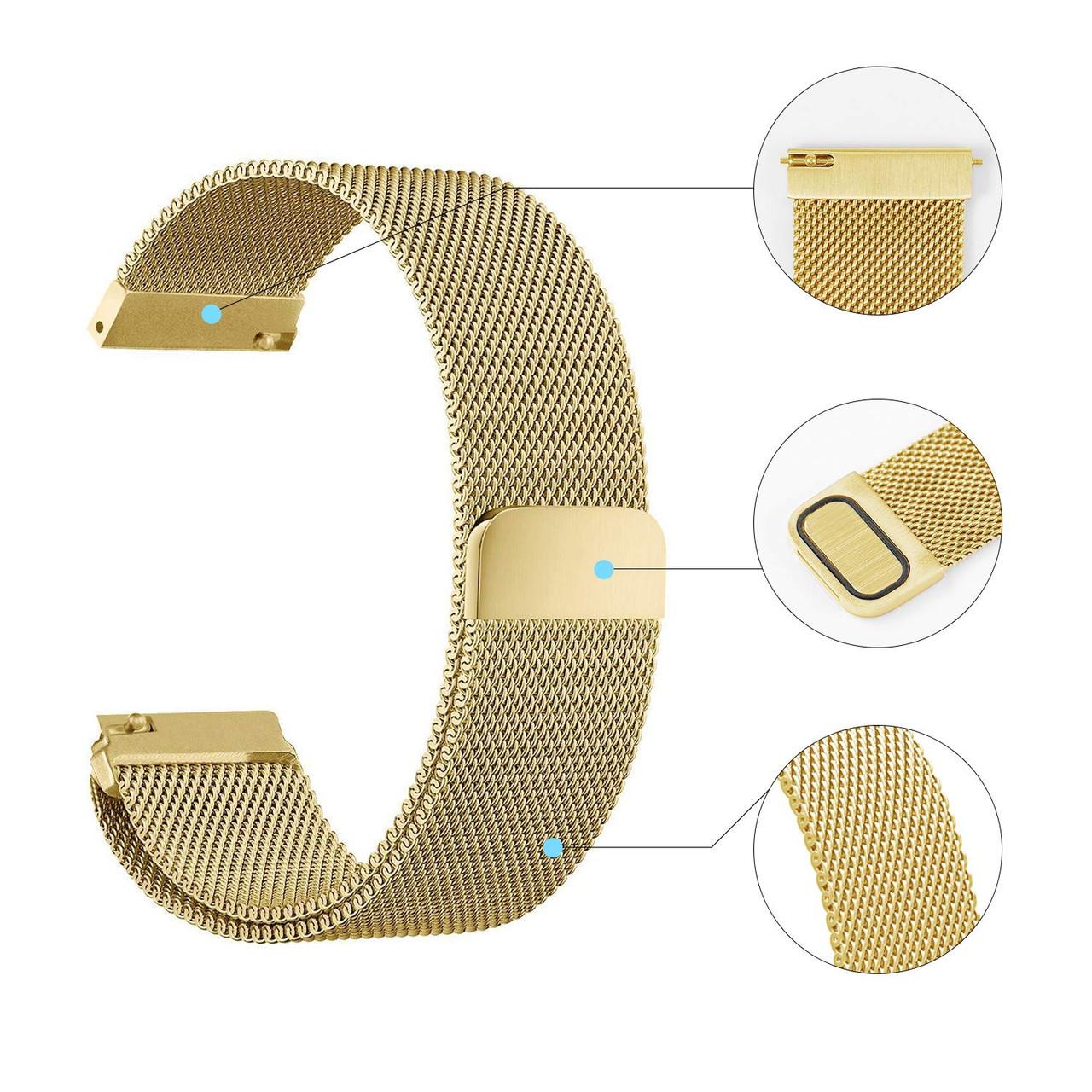 Ремешок универсальный шириной 20мм BeWatch миланская петля | milanesse loop для смарт-часов Золотой (1010228)