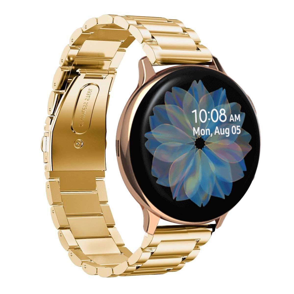 Ремешок стальной браслет BeWatch Classic Xtra 20мм для Samsung Galaxy Watch Active   Active2 40mm Gold (1110428)