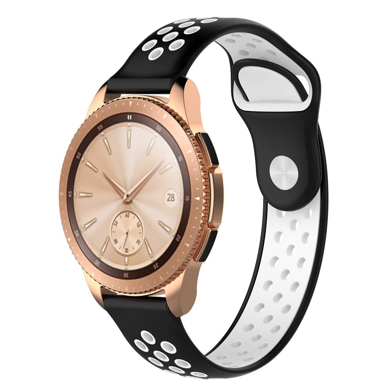 Ремешок BeWatch sport-style для Samsung Galaxy Watch 42 мм Черно-Белый (1010112.2)