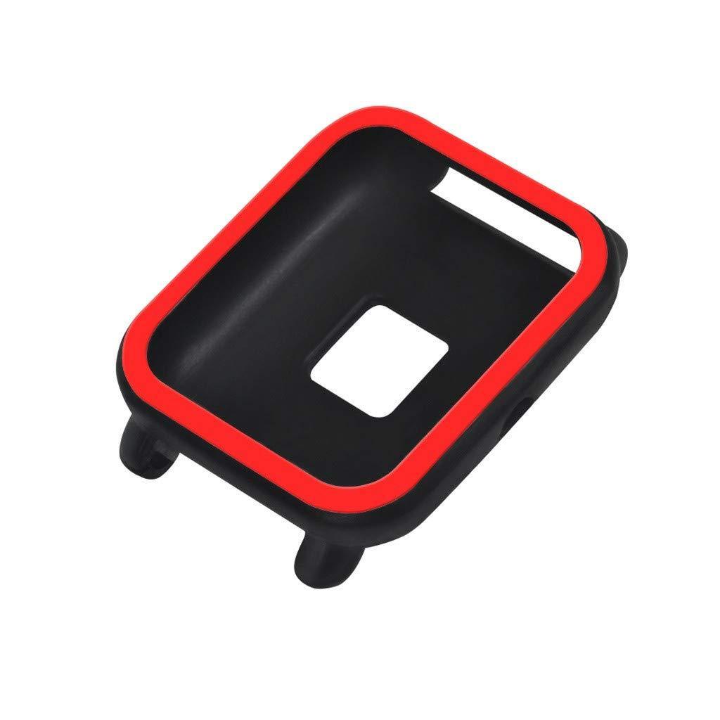 Силиконовый чехол BeWatch для Xiaomi Amazfit BIP Черно-красный (1012813)