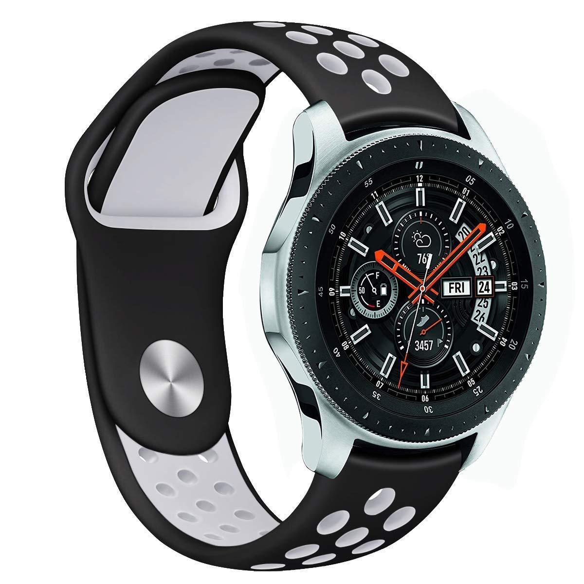Ремешок силиконовый BeWatch для смарт-часов Samsung Galaxy Watch 46mm Черно-Белый (1020112)
