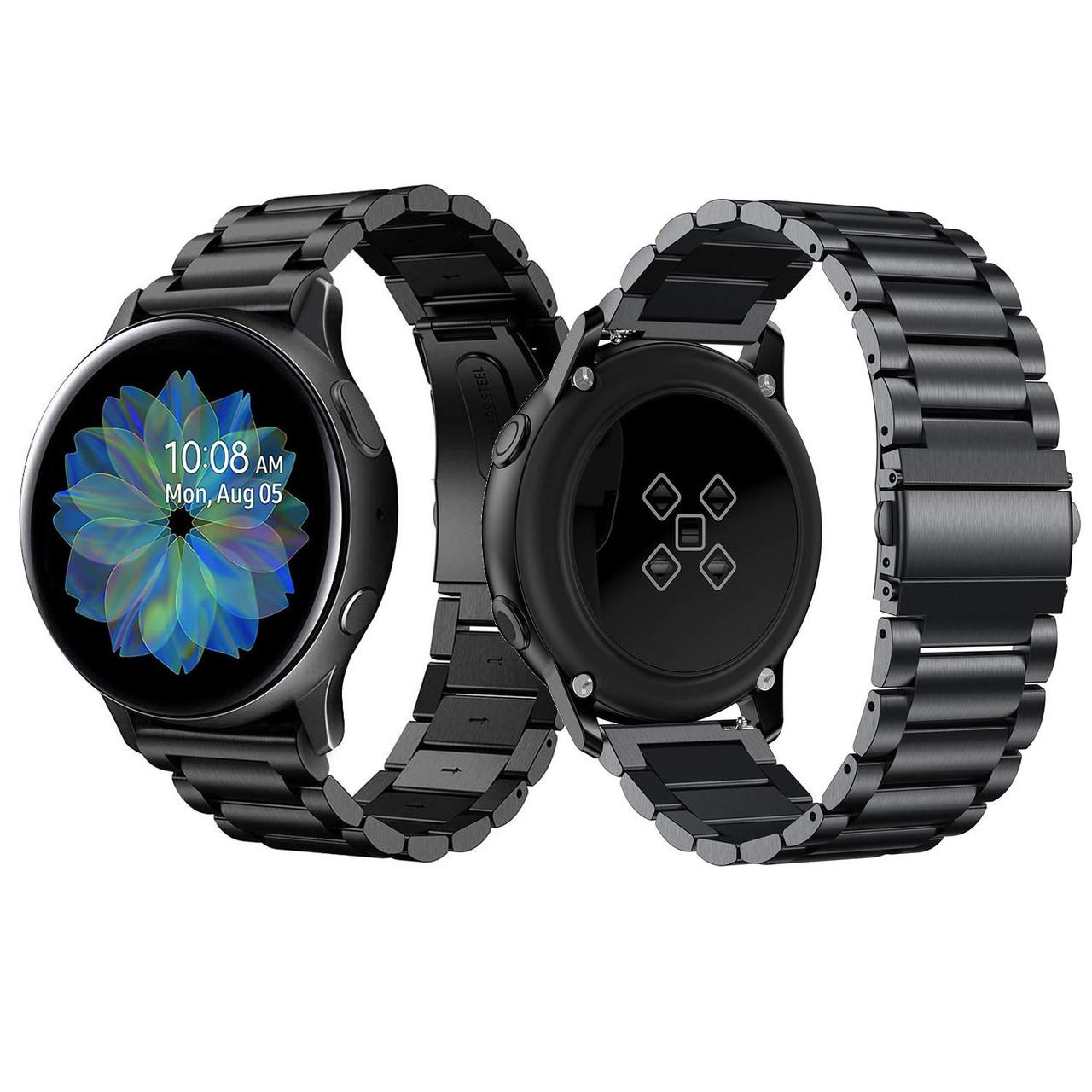 Стальной ремешок 20мм  BeWatch для Samsung Galaxy Watch Active | Active 2  Черный (1110401)