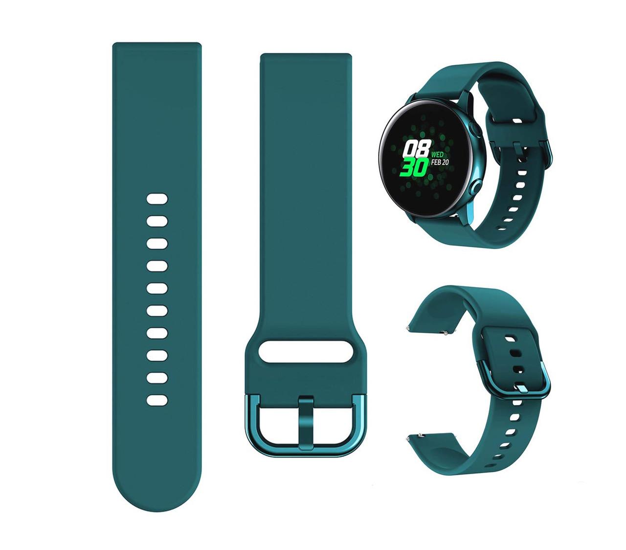 Ремешок силиконовый NewColor 20мм для Samsung Galaxy Watch 42мм | Active | Active 2  Dark Green(1012316)