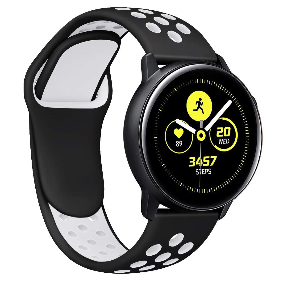 Ремешок BeWatch силиконовый 20мм для  Samsung Galaxy Watch Active   Active 2 40mm Черно Белый (1010112)