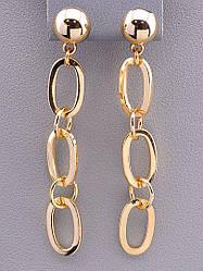 Серьги женские длинные колечка золотого цвета бренд FJ